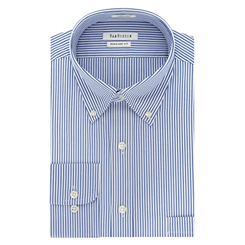 X-Future Men Stripe Print Formal Long Sleeve Regular Fit Button Down Dress Shirt