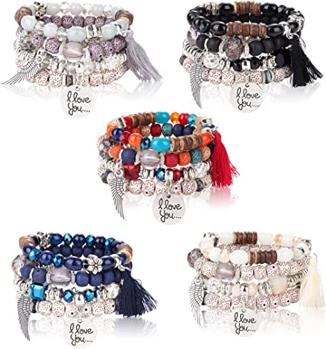 LOYALLOOK 5Sets Bohemian Stretch Beaded Bracelets for Women Crystal Beaded Strand Bangle Charm Multilayer Stackable B...