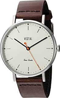 Vestal 'Sophisticate' Swiss Quartz Stainless Steel and Leather Dress Watch, Color:Brown (Model: SP42L08.DB)