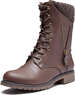 Womens Military Up Buckle Combat Boots Zipper Sweater Ankle High Exclusive Credit Card Pocket