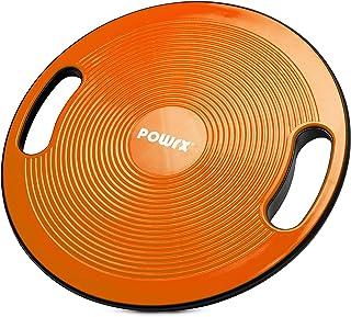 POWRX Balance Board inkl. Workout I Wobble Board Ø 40cm med handtag I Therapy Spinning Top för proprioceptiv träning och f...