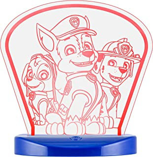 Nickelodeon Paw Patrol Color-Changing Table Top Lamp Nightlight, USB Powered Night Light, 9 Multi-Colored 3D Options, Always On/60 Minute Time-Out, Colorful, Blue Acrylic Base, 37773