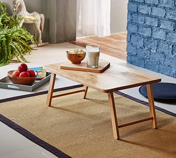 PJ Wood Foldable Laptop Desk And Bed Tray Table Natural