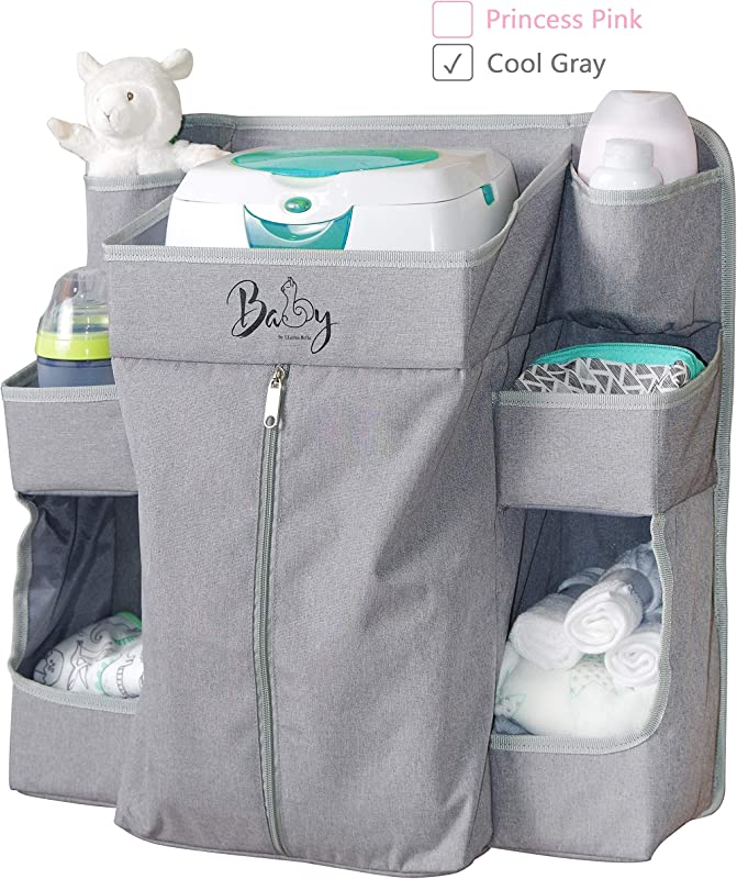Llama Bella Premium Nursery Organizer And Baby Diaper Caddy Hanging Diaper Organizer For Baby Essentials Hang On Crib Changing Table Playard Or Furniture Portable Storage For Wipes Grey