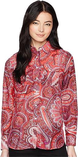 Petite Silk Cotton Voile Long Sleeve Shirt