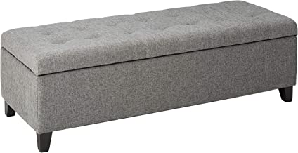 Christopher Knight Home Living Sterling Light Grey Fabric Tufted Storage Ottoman