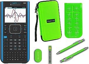 Texas Instruments Ti Nspire CX II CAS Graphing Calculator + Guerrilla Zipper Case + Essential Graphing Calculator Accessory Kit, Black (Green)