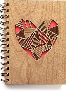 Patchwork Heart Laser Cut Wood Journal (Notebook/Birthday Gift/Gratitude Journal/Handmade)