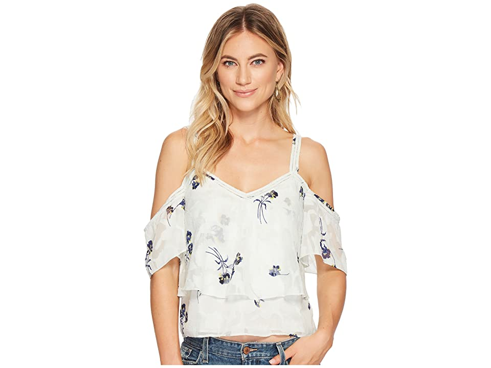 Lucky Brand Floral Cold Shoulder Top (Multi) Women's Short Sleeve Pullover