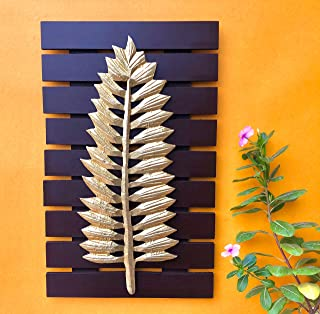 Maple Craft Wood Brass Wall Art-Brass Leaf Woodfor Home Decor/Living Room/Bed Room (Leaf - 12)