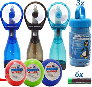 3 Cooling Towel For Sports, Portable Handheld Spray Water Misting Fan 1 Blue 1 Black 1 Aqua, Adult/ kid Rain Poncho 1 Blue 1 Green 1 Red, 6 AA Batteries, Perfect For Hiking Amusement Parks Workout.