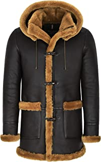 Smart Range Leather Montgomery in Pelle di Montone per Uomo Cappotto in Pelliccia di Zenzero Marrone con Cappuccio 100% Sh...
