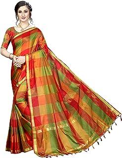 Tarshika Women's Cotton Silk Saree With Blouse Piece