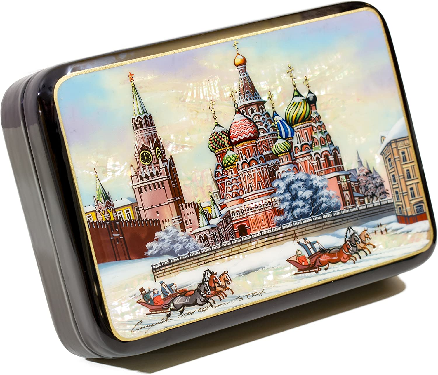 Russian Fedoskino Original Lacquer Box - Hand Painted in Russia - Collectible Art Quality - 10 Size&Design Variations (Medium, Design B)