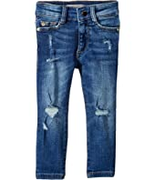 Chloe Dark Wash Distressed Skinny with Chewed Back Pocket Adjustable Waist Band and Snap Button in Royce (Toddler/Little Kids)