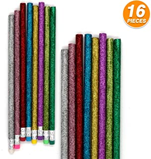 Emraw Colorful Round No 2 HB Wood Cased Glitter Pencils with Eraser Top - Pack of 16 Unsharpened Sparkling Bright Pencils