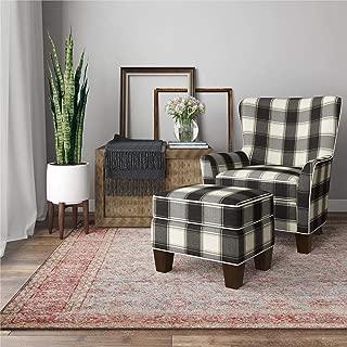 Dorel Living Berkeley Chair & Ottoman Set, Black Plaid Accent Chair