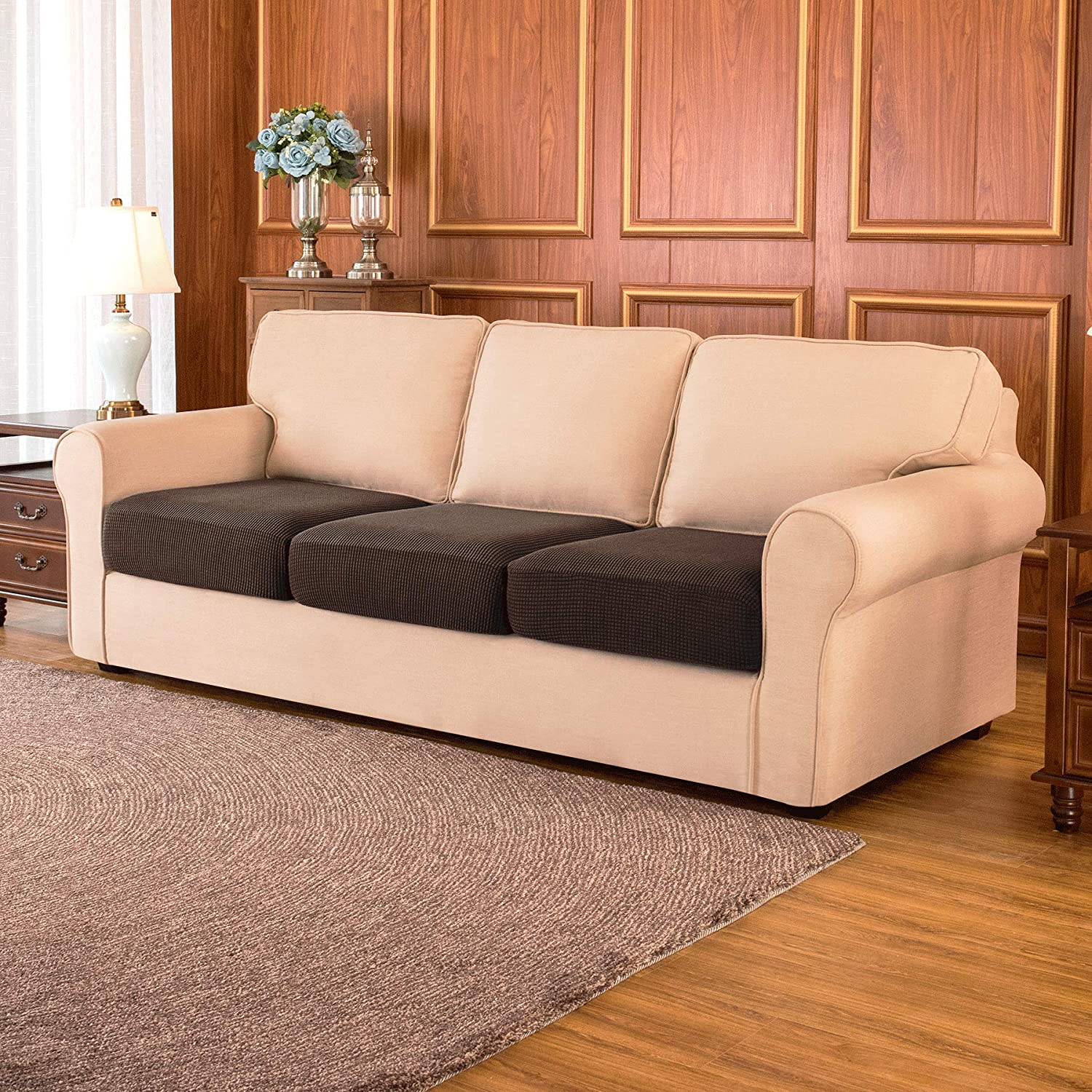 subrtex Couch Slipcover Chair Slip Loveseat Stretch Durable Sofa Cushion Cover Spandex Elastic Furniture Protector for Settee Seat Black 3 Piece