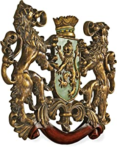 Design Toscano EU1030  Heraldic Royal Lions Coat of Arms Medieval Decor Wall Sculpture, 30 Inch, Full Color