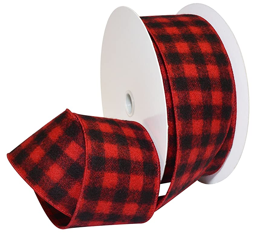 Morex Ribbon Red/Black Wired Buffalo Plaid Ribbon, 2-1/2 inches by 100 Feet
