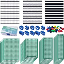 Miuzei 100Pcs PCB Board Kit Including 30 Pcs Double Sided PCB Prototype Boards, 30 Pcs Header Connector(40 Pin 2.54mm Male and Female), 30 Pcs Jumper Caps, 10 Pcs 2P&3P Screw Terminal Blocks with Box