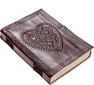 CARVEx Leather Journal Heart Engraved Handmade Writing Notebook 7 x 5 Inches Unlined Paper, Brown Antique Leatherbound Daily Diary Notepad for Men & Women Gift