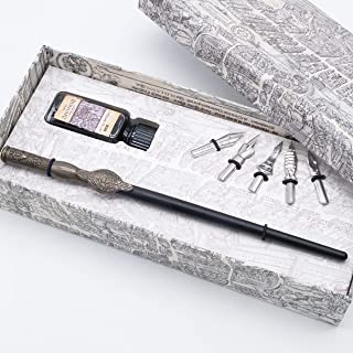 HOHUHU Calligraphy Pen Set-Handcrafted Wooden Dip Pen with 4 nibs, Black Ink, Bottle HO-Q-304