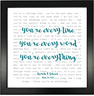 Michael Buble, Everything Song Lyrics Print Framed & Personalised - Anniversary Valentine's Wedding Gift perfect for him, her, couple - fully framed