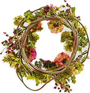 Nearly Natural 24in. Peony Wreath, 24 inches round, Mixed