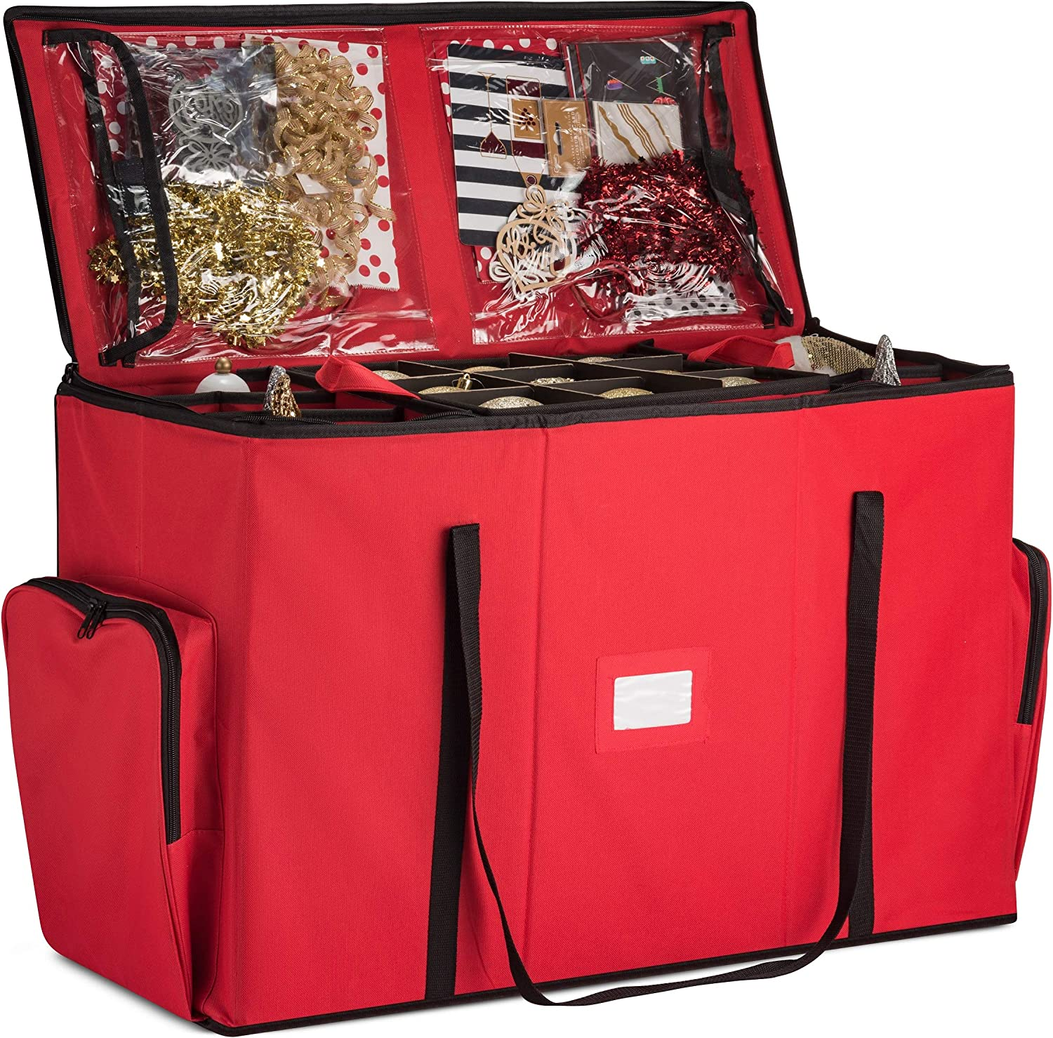 Bombing new work Super Rigid 2-in-1 Christmas Ornament Storage Box Xmas We OFFer at cheap prices Figurin