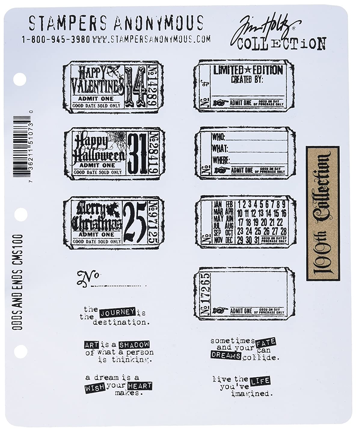 Stampers Anonymous Tim Holtz Large Cling Rubber Stamp Set, Odds and Ends