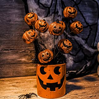 Valery Madelyn 12 inch Halloween Wreath Accessories Halloween Pumpkin Picks for Indoor Outdoor Cute Halloween Decoration (6 Packs)