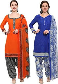 Rajnandini Women's Orange And Blue Crepe Printed Unstitched Salwar Suit Material (Combo Of 2) (Free Size)