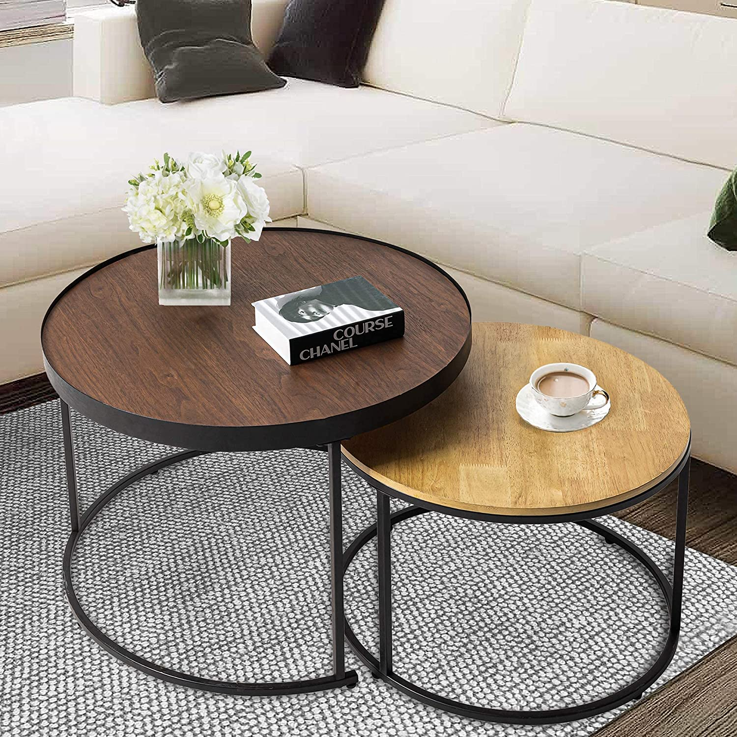 Round Nesting Coffee Tables Set of 大人気 正規取扱店 Wooden Cock 2 Farmhouse Side