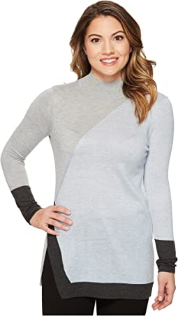 Vince Camuto Specialty Size - Petite Long Sleeve Color Blocked Turtleneck Tunic Sweater