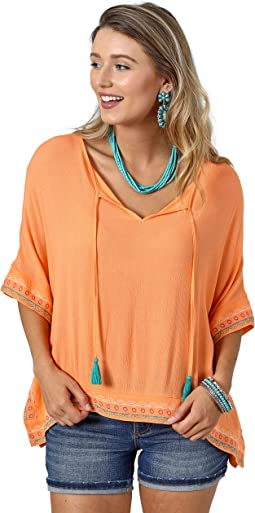 Poncho with Tassle Neck Tie with Embroidery