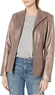 womens Leather Wing Collared Jacket