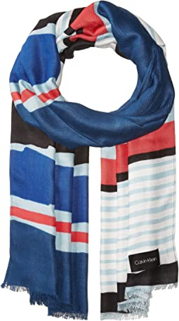 Painterly Color Block Stripe Pashmina