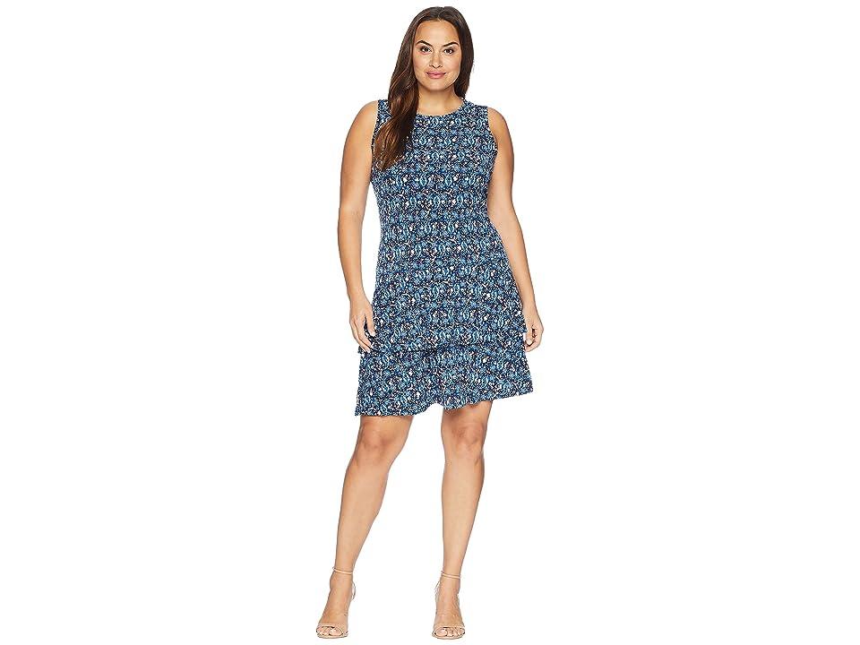 MICHAEL Michael Kors Plus Size Woodblock Sleeves Flounce Dress (True Navy/Radiant Blue) Women