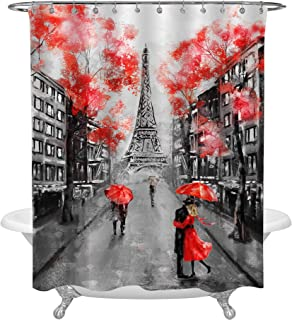 MitoVilla Eiffel Tower Couple Red Black French Cityscape Shower Curtain Set with Hooks, No Liner Needed, Paris Landmark Bathroom Curtain for Vintage Home Decor, 72 W x 78 L inches