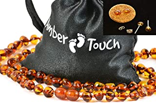 Baltic Amber Necklace for Adult + Amber Earrings - Headache, Migraine, Sinus, Arthritis, Carpal Tunnel, Nursing Pain Relief (17.7 inches (45 cm), Cognac)