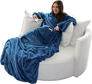 Brandsseller wollige tv-deken, knuffeldeken, plaid met mouwen, met kasjmier gevoel, met voetenzak en 2 zakken
