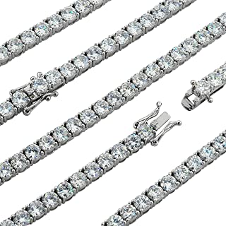 Premium Simulated Diamond Tennis Chain Made From Jewelers Alloy With Secure Box Lock. Available in Widths 3MM, 4MM, 5MM and in Lengths 30