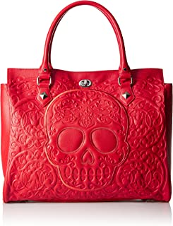 Loungefly Red On Lattice Skull Tote Bag
