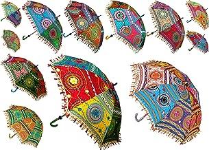 7 Pcs Lot Indian Cotton Fabric Mirror Work Vintage Parasols Wedding Umbrella Outdoor Decorations Handmade Embroidery Ethnic Umbrella Parasol