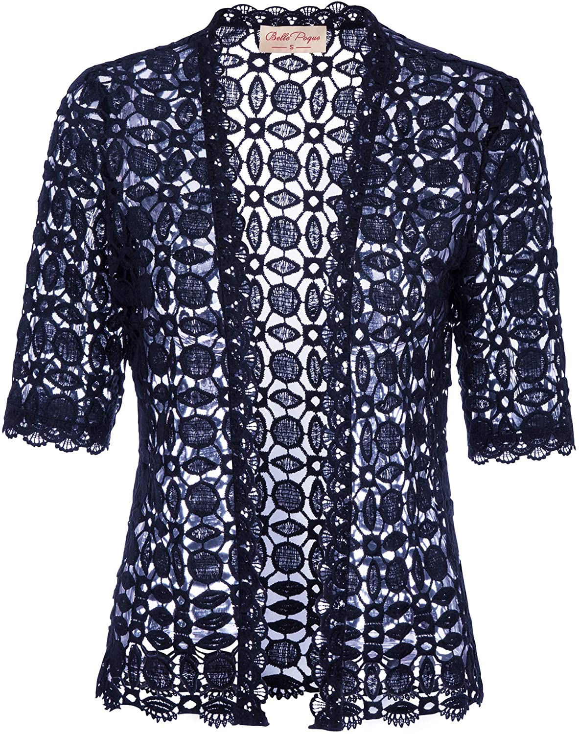 Belle Poque Women's outlet Excellence Lace Shrug Half Sleeve Cardigan Scalloped Tr