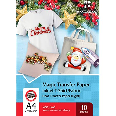 Iron on Transfer Paper for Light Fabric (Magic Paper) by Raimarket   10 Sheets   A4 Inkjet Iron On Paper/T Shirt Transfers   DIY Fabric Printing, Unleash Your Creativity (10)