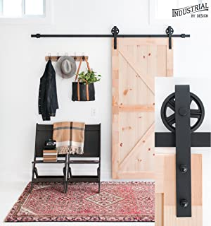 Industrial By Design - 8-Foot Big Wheel Sliding Barn Door Hardware Kit (Black) - Step-by-Step Installation Video - Ultra Quiet - One-Piece Rail, Industrial Spoke Wheel