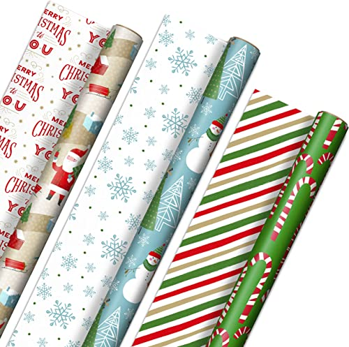 Hallmark Reversible Christmas Wrapping Paper (3 Rolls: 120 sq. ft. ttl) Rustic Santa, Papercraft Snowmen, Candy Canes...
