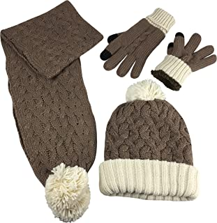 N'Ice Caps Women's 2 Ply Fully Lined Cable Knit Hat Scarf Glove 3PC Winter Set